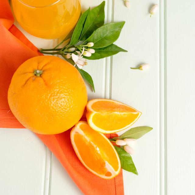 """""""Freshly squeezed orange juice"""" stock image"""