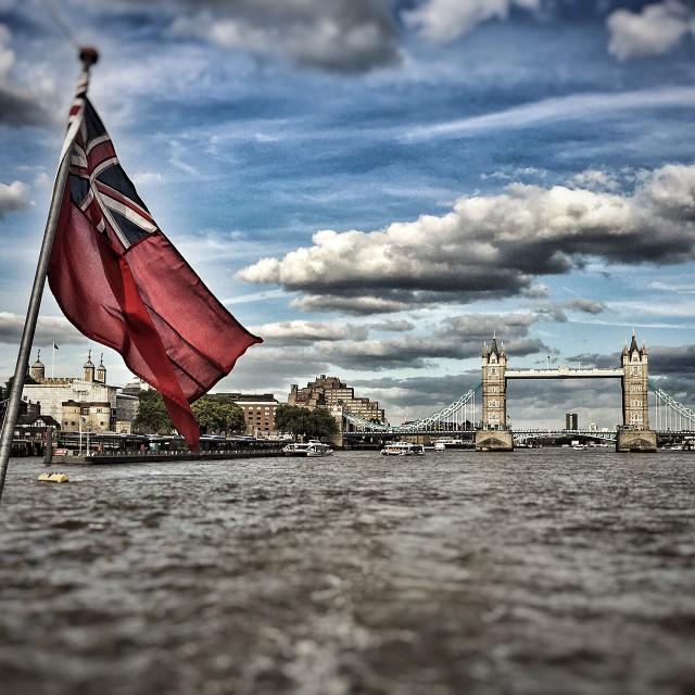 """Flag flying of Tower Bridge"" stock image"