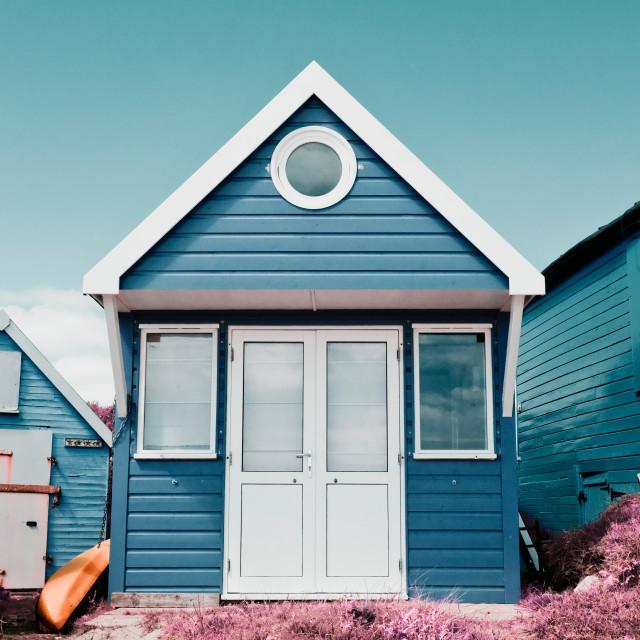 """Single Blue Beach Hut"" stock image"