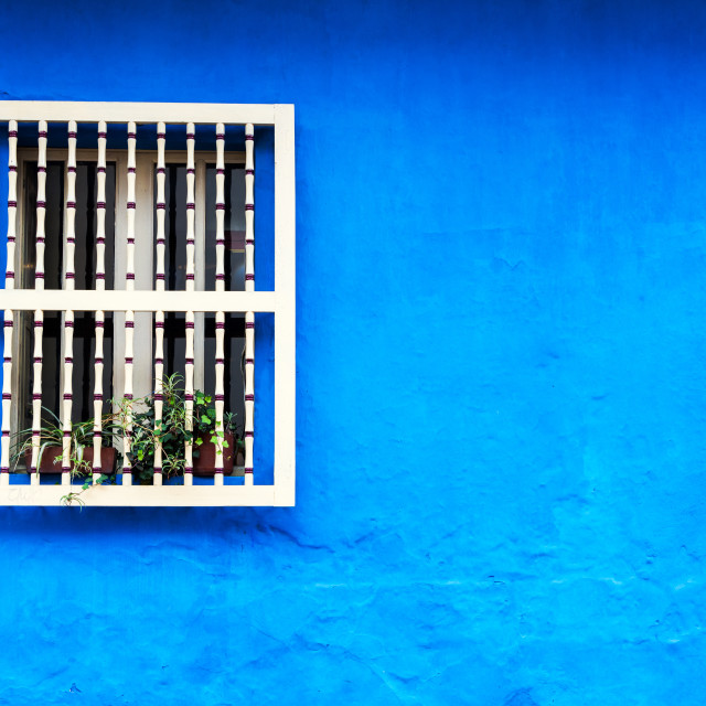 """Blue Colonial Wall"" stock image"
