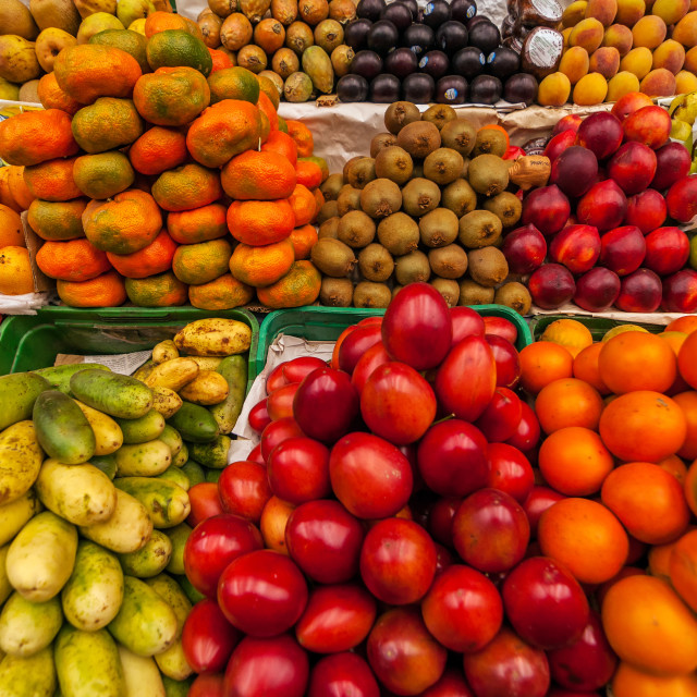 """Exotic Fruits in a Market"" stock image"