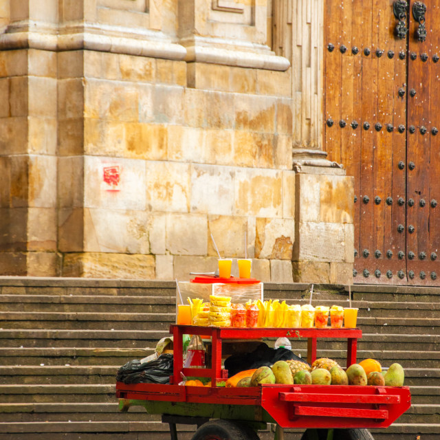"""Fruit for Sale on a Cart"" stock image"
