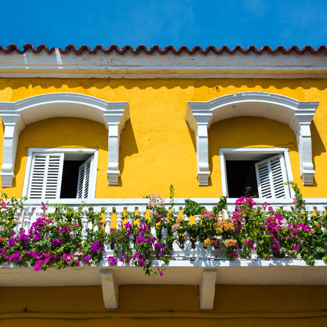 """Colonial Balcony in Cartagena"" stock image"