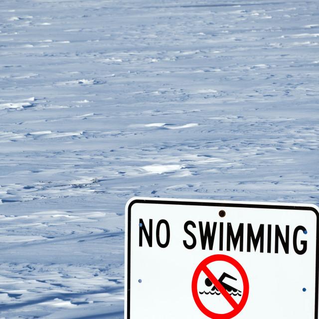 """Lake Michigan No Swimming Sign"" stock image"