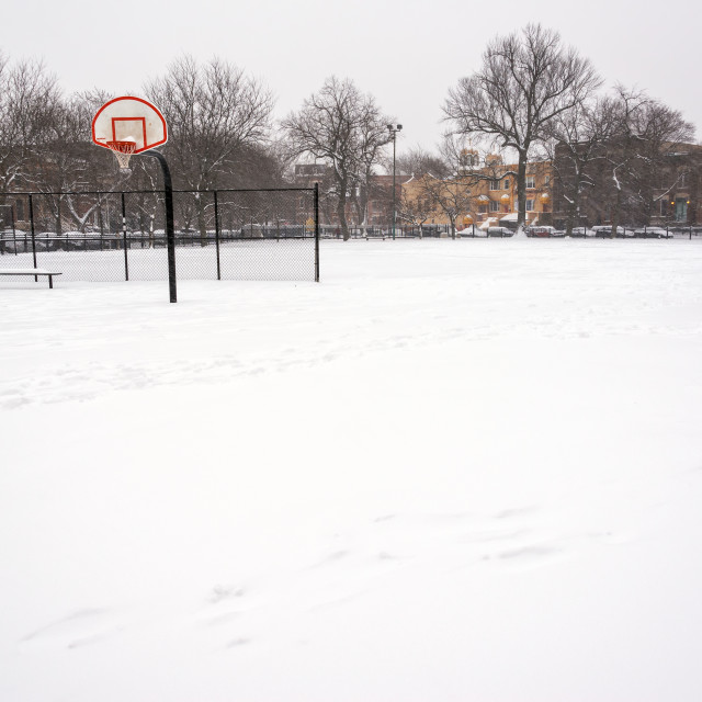 """""""Snowy Basketball Court"""" stock image"""