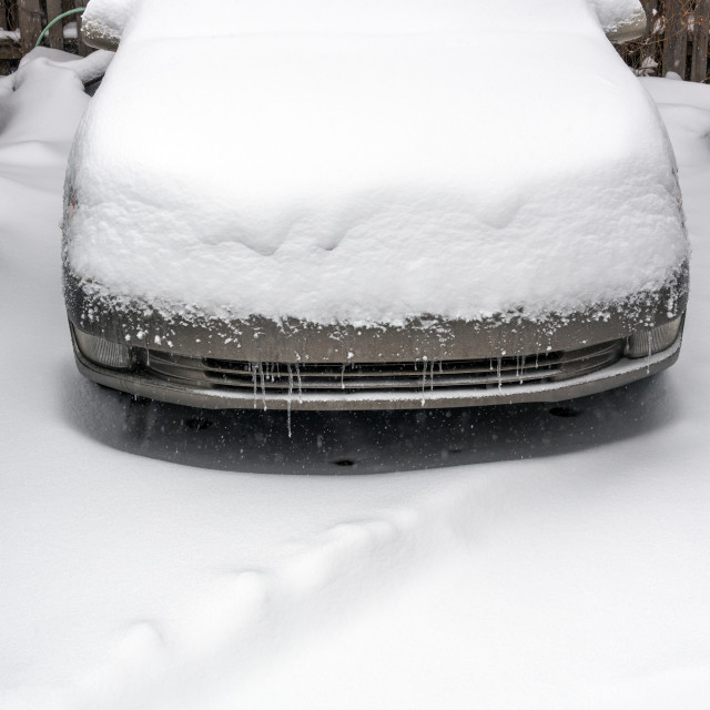 """Snow Covered Car"" stock image"