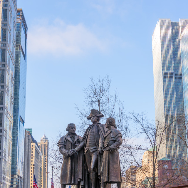 """""""Statue and Skyscrapers"""" stock image"""