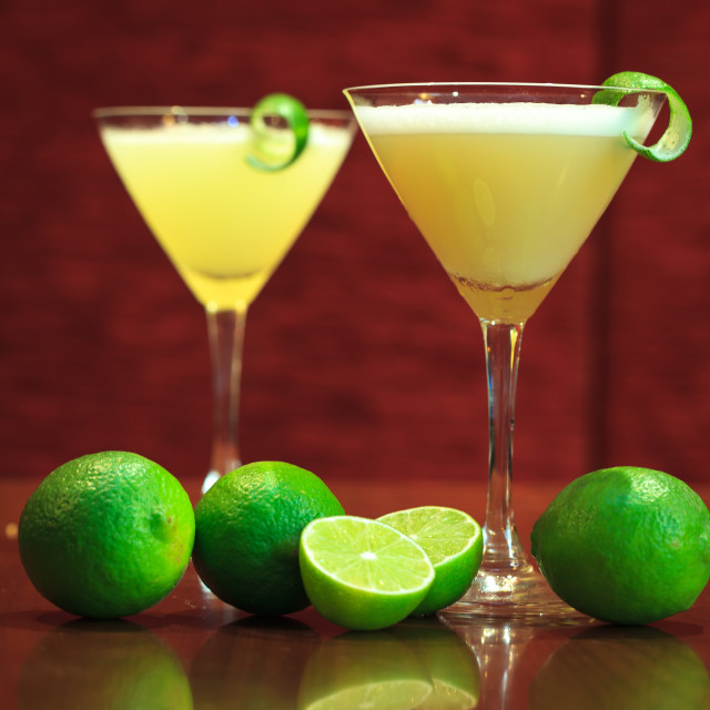 """""""Lemon cocktail drinks with dark wooden background"""" stock image"""
