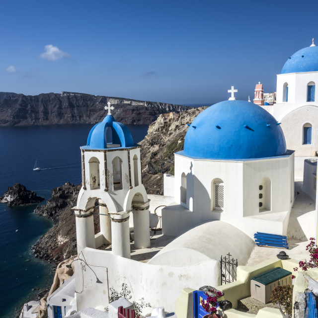 """""""Blue and white church of Oia village"""" stock image"""
