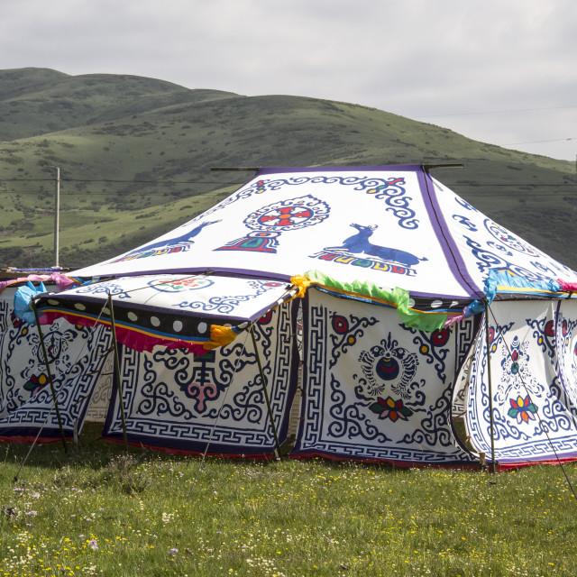 """Tibetan Tent House"" stock image"