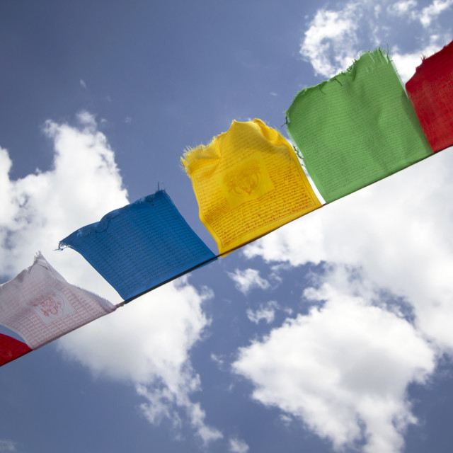 """Colorful buddhist flags"" stock image"