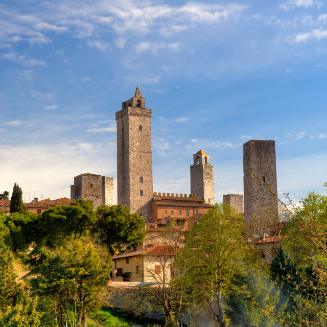 """""""The Towers of San Gimignano"""" stock image"""