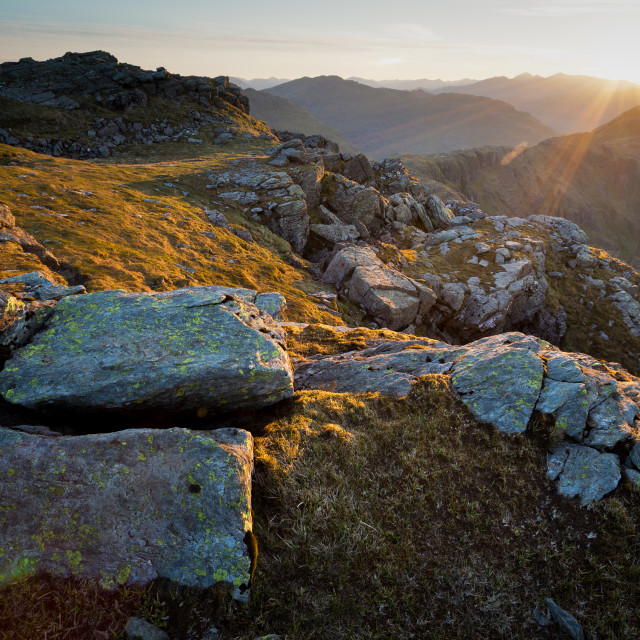 """Sunrise on Ben Narnain"" stock image"