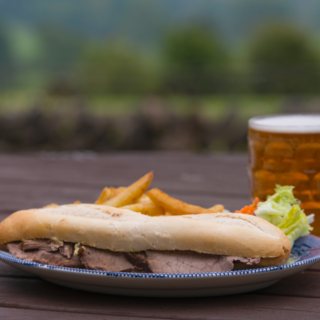 """""""pub lunch beef baguette"""" stock image"""
