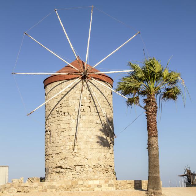 """Mandraki Harbour windmills ,Rhodes Island"" stock image"