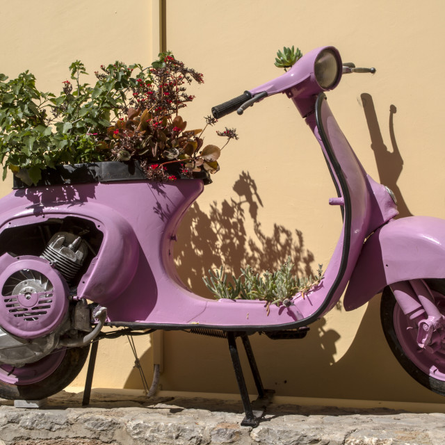 """Purple Vintage scooter in Rhodes Greece"" stock image"