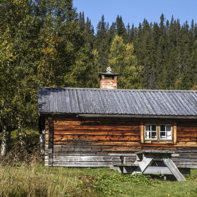 """Old wooden cabin in mountain"" stock image"