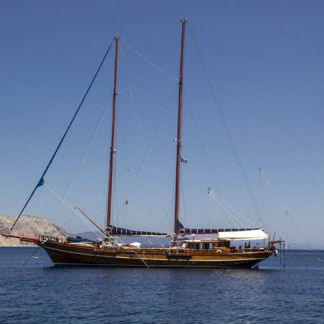 """Old sailing boat in Lindos village, Rhodes"" stock image"