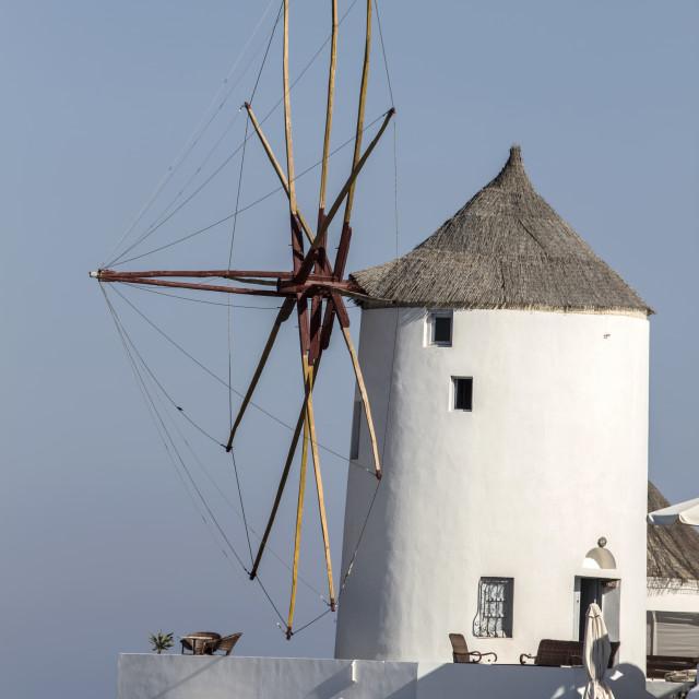 """""""Windwill in Oia, Santorini"""" stock image"""