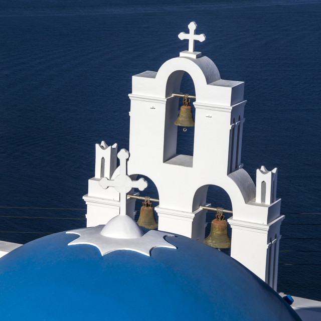 """Santorini church (Firostefani)"" stock image"