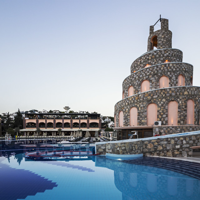 """""""Pool slide and restaurant of Bodrum Imperial hotel"""" stock image"""