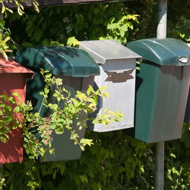 """""""Mailboxes made of plastic"""" stock image"""