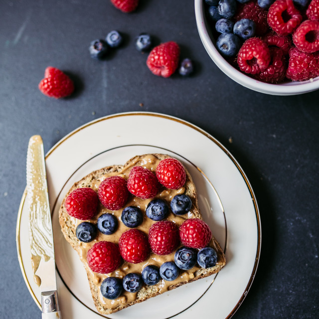 """Peanut butter toast with berries"" stock image"