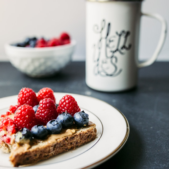 """""""Peanut butter toast with berries"""" stock image"""