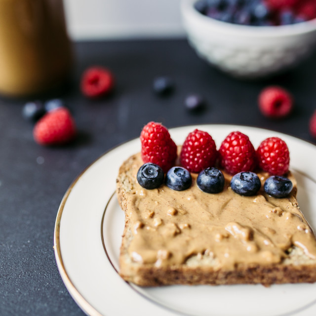 """""""Toasted piece of bread and berries"""" stock image"""