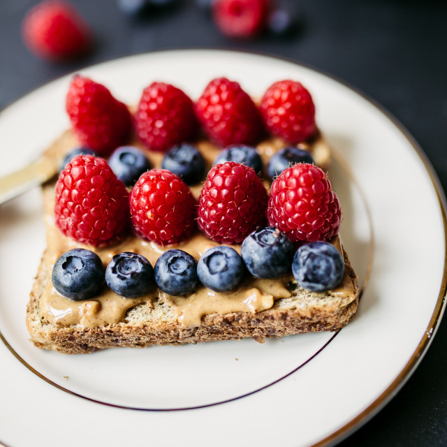 """Toasted piece of bread and berries"" stock image"