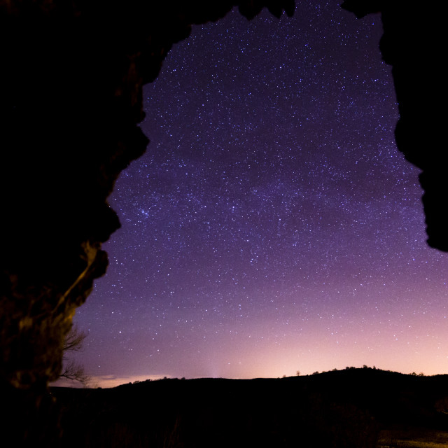 """Night Sky Through a Castle Window"" stock image"