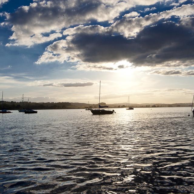 """""""Sailing boats at Sunset"""" stock image"""