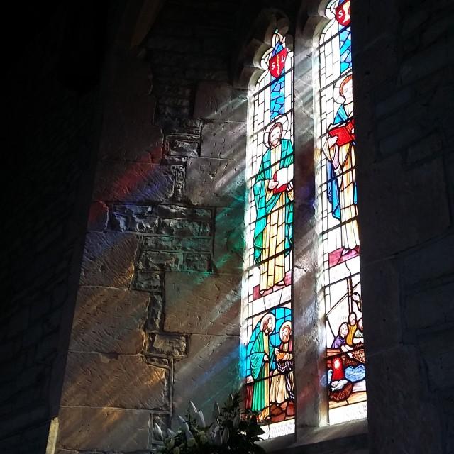 """Church window Hartpury"" stock image"