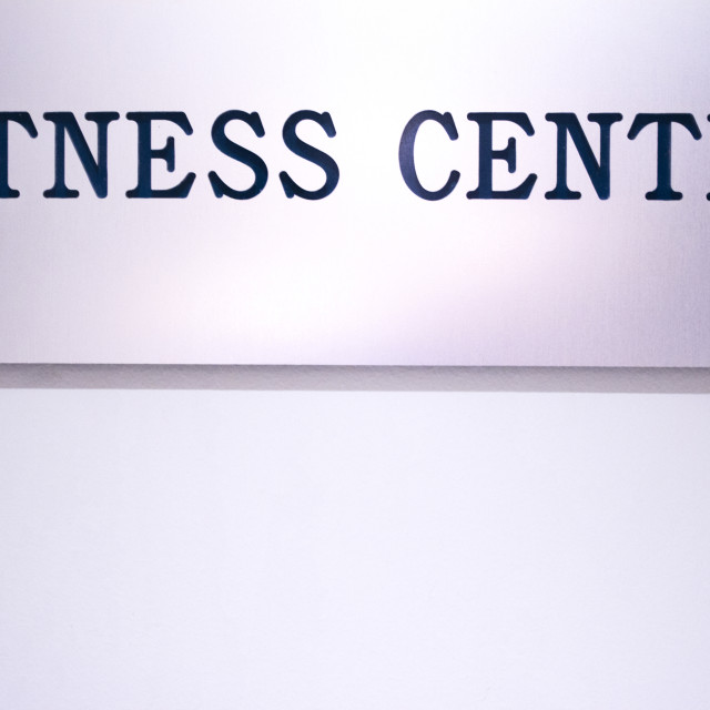 """""""Fitness center sign outside gym health club"""" stock image"""