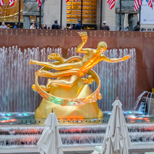 """Golden Prometheus Statue at the Rockefeller Center in New York"" stock image"