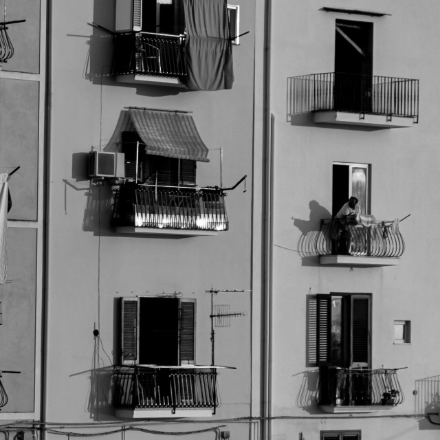"""Fishing Village Balconies"" stock image"