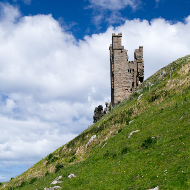 """Dunstanburgh Castle turret"" stock image"
