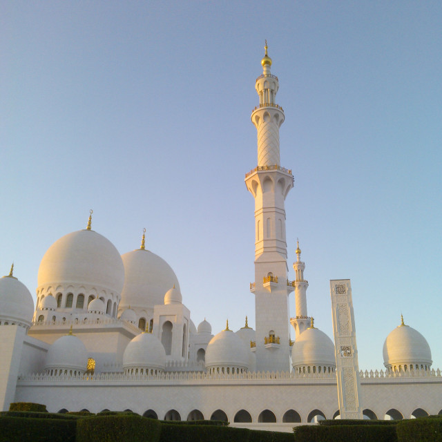 """Sheikh Zayed Grand Mosque, surrounded by gardens."" stock image"