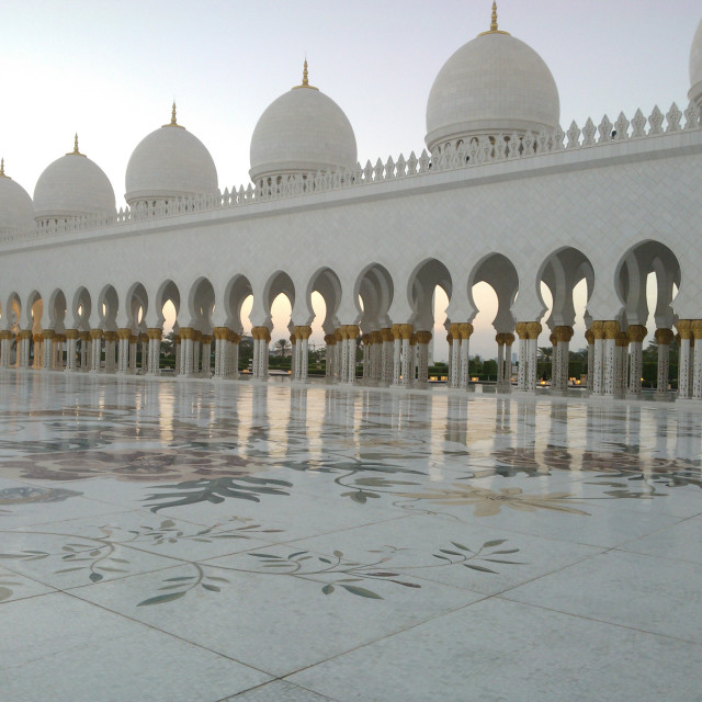 """Sheikh Zayed Grand Mosque, courtyard."" stock image"