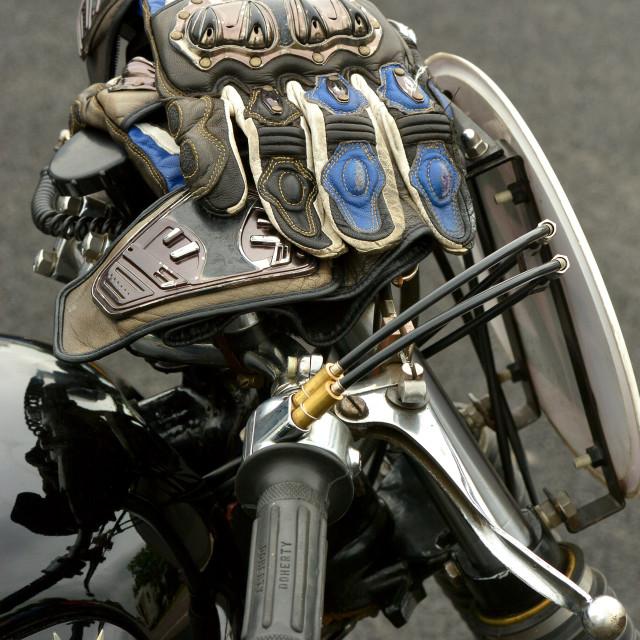 """BSA clasiic bike and gloves"" stock image"