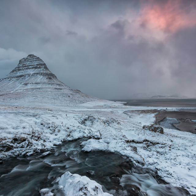 """sunrise in the snow"" stock image"