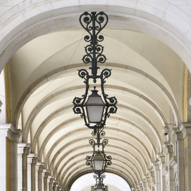 """Lamps and archs"" stock image"