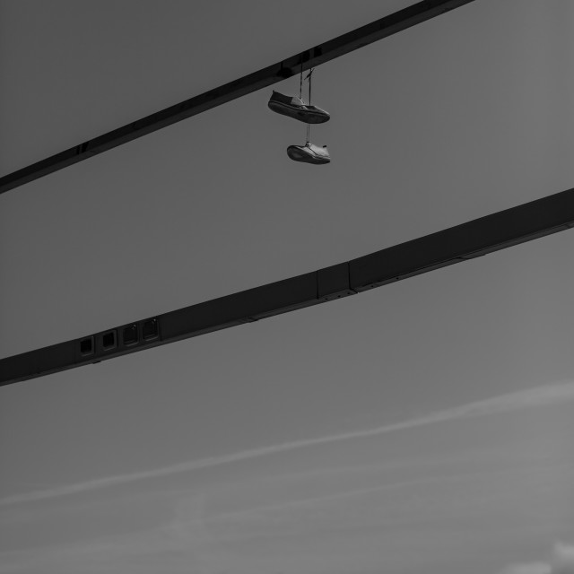 """""""Shoes on a wire"""" stock image"""