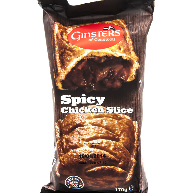 """""""Ginsters Spicy Chicken Slice"""" stock image"""