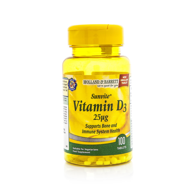 """""""Vitamin D container on a white background"""" stock image"""
