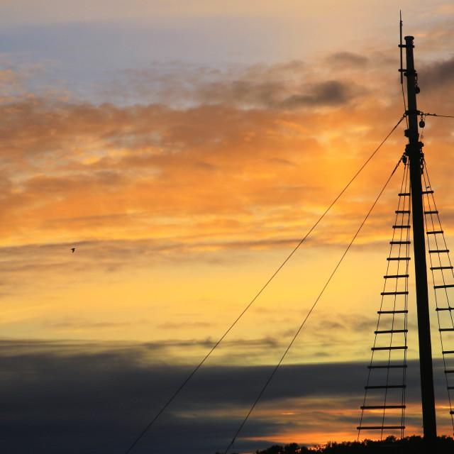 """Mast in sunset"" stock image"