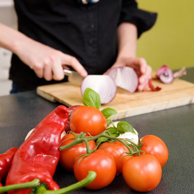 """Tomatoes and Chillies"" stock image"