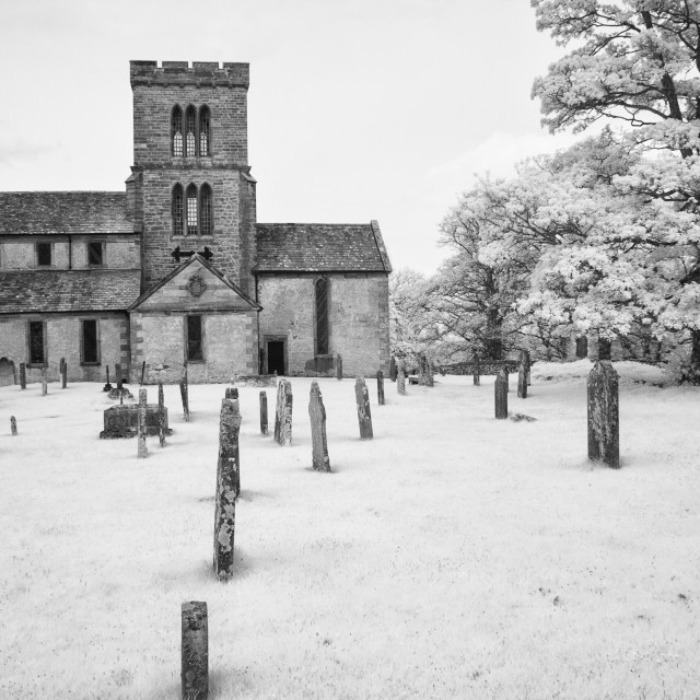 """Church on the Lowther estate Monochrome."" stock image"
