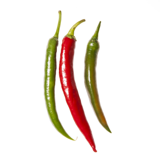 """""""Three peppers arranged vertically"""" stock image"""