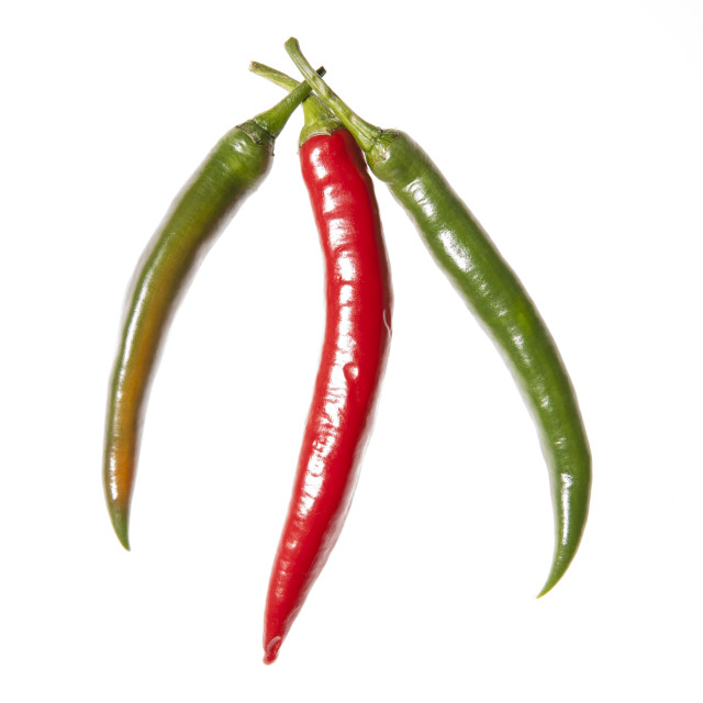 """""""Three peppers arranged"""" stock image"""